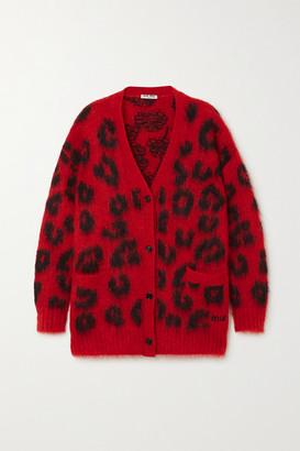 Miu Miu Leopard-intarsia Mohair-blend Cardigan - Red