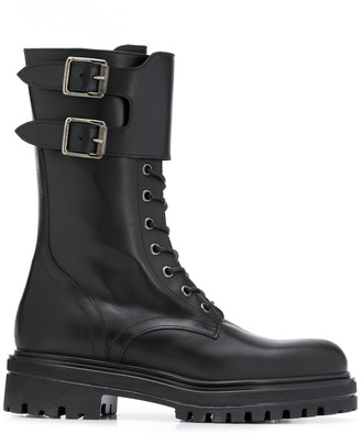 Paul Warmer Double-Buckle Military Boots