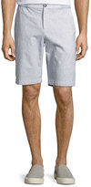 ATM Anthony Thomas Melillo Melange Linen-Cotton Shorts, White/Blue