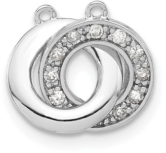 Sterling Silver Polished Diamond Interlocking Circles Pendant with 18-inch Cable Chain by Versil