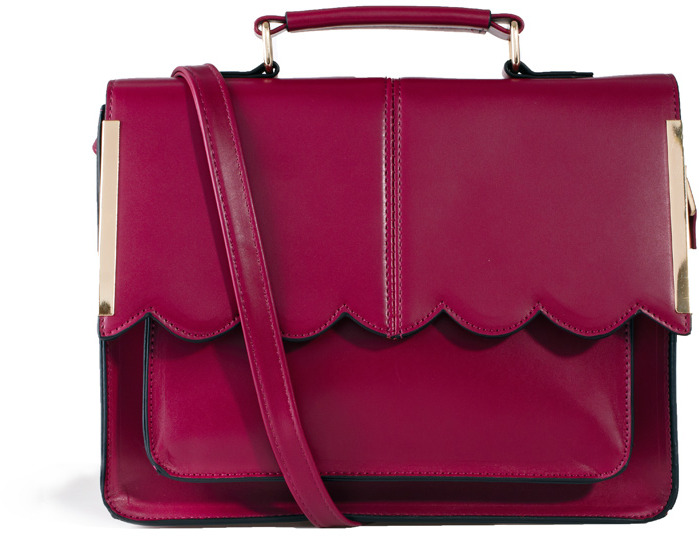 Asos Satchel Bag With Scallop Bar Detail