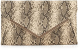 Neiman Marcus Faux-Leather Snake-Embossed Envelope Clutch Bag, Beige