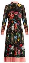 Gucci Floral and snake-print silk midi dress