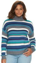 Chaps Plus Size Striped Mockneck Sweater