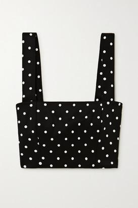 Balmain Cropped Polka-dot Stretch-knit Top - Black