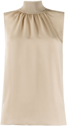 Theory Sleeveless High-Neck Gathered Top