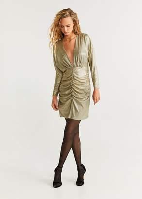 MANGO Draped metallic dress