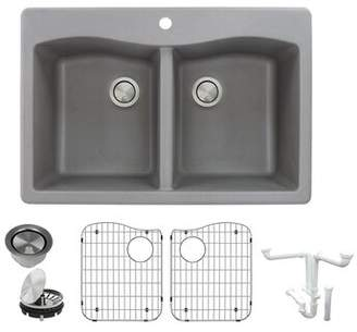 "Transolid Aversa Granite 33"" L x 22"" W Double Basin Drop-In Kitchen Sink with Basket Strainer Transolid Finish: Gray"