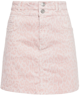 Current/Elliott The Flute Leopard-print Denim Mini Skirt