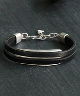 Nautilus Silver-Plated & Leather Layered Wristband