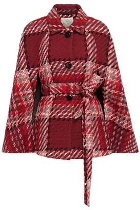 Kate Spade Belted Checked Wool-blend Cape