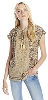 Lucky Brand Women's Floral Border Top