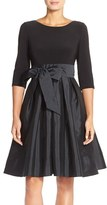 Adrianna Papell Bow Taffeta Fit & Flare Dress (Regular & Petite)