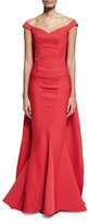 Zac Posen Off-the-Shoulder Cape Mermaid Gown, Cherry