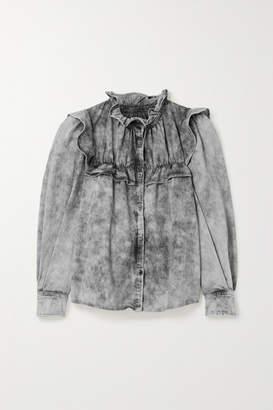 Etoile Isabel Marant Idety Oversized Ruffled Acid-wash Denim Shirt - Gray