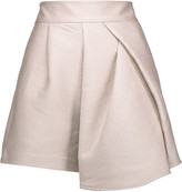 Tibi Corazon draped metallic cloqué shorts
