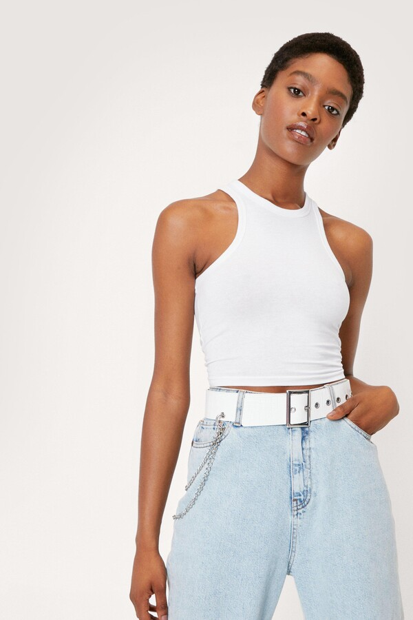 Nasty Gal Womens Drop Chain Chunky Faux Leather Belt - White - One Size