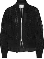 Sacai Shell-trimmed Broderie Anglaise Cotton Bomber Jacket - Black