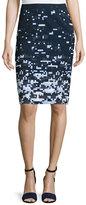 Jil Sander Navy Pixelated Pencil Skirt