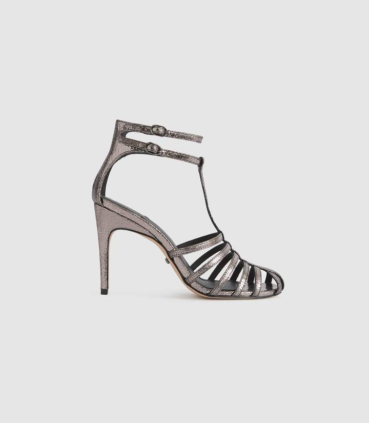 Gunmetal Lulu Sandals High Strappy Metallic Heeled c4L3jq5RA