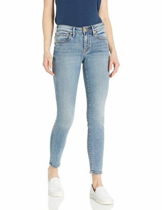 True Religion Women's Jennie Mid Rise Skinny Leg fit Jean with Gold Buddha Embroidery