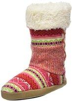 Dearfoams Women's Tall Patchwork Boot with Memory Foam Hi-Top Slippers,7-8 UK (40-41 EU)