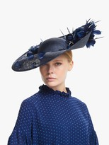 Bundle MacLaren Millinery Nina Feather Flowers Upside Disc Occasion Hat, Navy