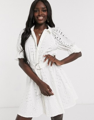 ASOS DESIGN broderie mini shirt dress with puff sleeves in white
