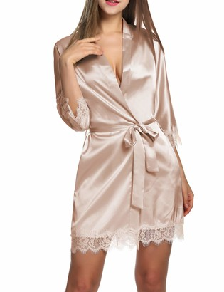 BeautyUU Ladies' Dressing Gown Satin Sexy Kimono with Pockets Short Robe with Belt Nightdress for a Bride Sleepwear with Floral Lace - - XX-Large
