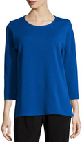 Caroline Rose 3/4-Sleeve Flat Wool Knit Top