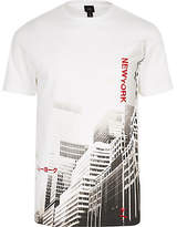 Mens White muscle fit 'New York' print T-shirt
