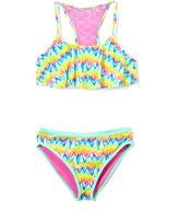 Vigoss Magenta Hippy Chic Flounce Crochet-Accent Bikini - Girls