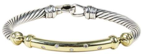 David Yurman Metro 925 Sterling Silver & 14K Yellow Gold with Diamond Bracelet
