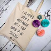 NV London Calcutta Dorothy Parker Quote Canvas Shopper