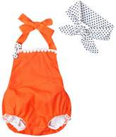 LUNIWEI Baby Girls Bodysuit Lace Bow Romper Jumpsuit + Headband Outfit