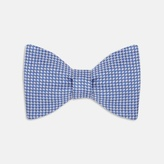 Turnbull & Asser Blue And White Houndstooth Silk Bow Tie