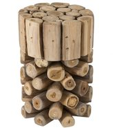 Jeffan Decorative Brown Rustic Natura Teak Wood Bar Stool