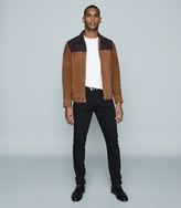 Reiss REDDING Tone-tone suede jacket Tobacco & Navy