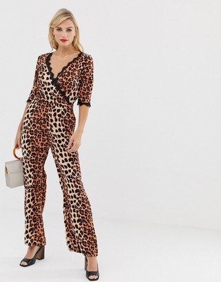 Liquorish wrap front jumpsuit in leopard print with lace trim sleeve detail