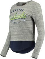 Outerstuff Women's Juniors Heathered Gray/College Navy Seattle Seahawks Shirt Tail Layered Long Sleeve T-Shirt