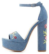 Charlotte Russe Embroidered Denim Two-Piece Sandals