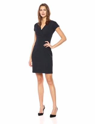 Lark & Ro Amazon Brand Women's Cap Sleeve Faux Wrap Sheath Dress