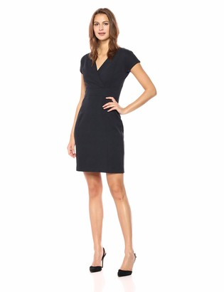 Lark & Ro Women's Cap Sleeve Faux Wrap Sheath Dress
