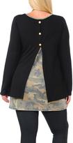 Celeste Black Button Split-Back Army Tunic - Plus