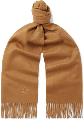 Kingsman Johnstons of Elgin Fringed Logo-Embroidered Cashmere Scarf - Men - Brown