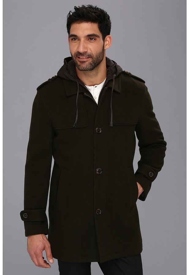 Cole Haan Italian Luxe Wool Duffle Coat (Olive) - Apparel