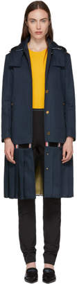 Thom Browne Navy Bal Collar Trench Coat