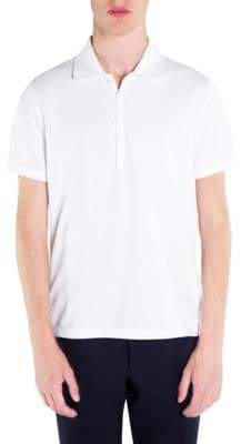Thom Browne Men's Short-Sleeve Relaxed-Fit Cotton Polo - Light Grey - Size 1 (S)