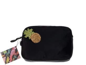 Laines London Black Velvet Bag With Golden Pineapple Brooch