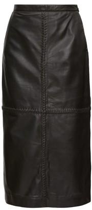 Altuzarra Mooney Panelled Leather Midi Skirt - Black
